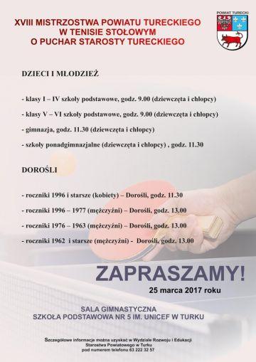 XVIII Mistrzostwa Powiatu Tureckiego w Tenisie...
