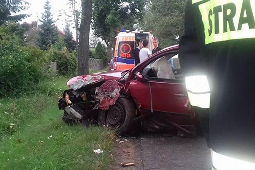 Malanów: Zjechał z drogi, uderzył w drzewo - foto: OSP Malanów