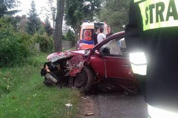 Malanów: Zjechał z drogi, uderzył w drzewo