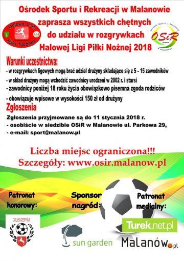 Malanów: Halowa Liga Piłki Nożnej 2018 - zapisy trwają