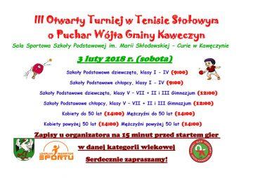 III Otwarty Turniej Tenisa Stołowego w Kawęczynie