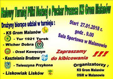 Malanów: Walka o Puchar Prezesa KS Grom Malanów już 27 stycznia